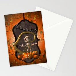 Halloween, funny mummy with pumpkins Stationery Cards