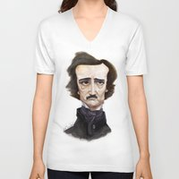 edgar allen poe V-neck T-shirts featuring Poe by Vito Quintans
