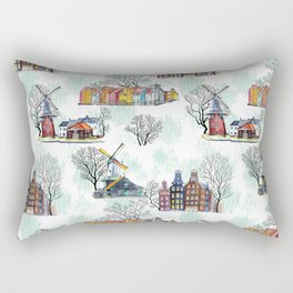 Amsterdam architecture pattern seamless watercolor. Rectangular Pillow