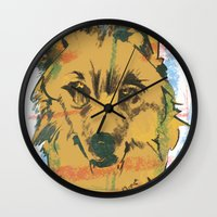howl Wall Clocks featuring HOWL by Galvanise The Dog
