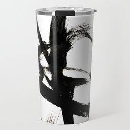 Brushstroke 4 - a simple black and white ink design Travel Mug