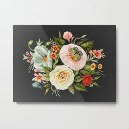 Wildflower and Butterflies Bouquet on Charcoal Black Metal Print