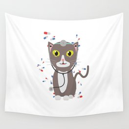 Cat with medical equipment   Wall Tapestry