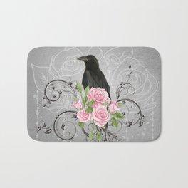 Wonderful crow with flowers Bath Mat