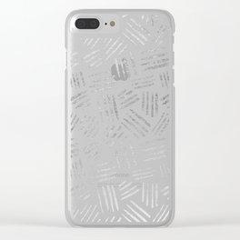 Elegant geometrical faux silver stripes pattern Clear iPhone Case