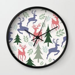 Festive Christmas reindeers and forest pine trees Wall Clock