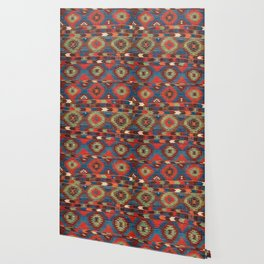 Tuscan Shapes I // 19th Century Southwestern Colorful Red Blue Orange Green Brown Ornate Rug Pattern Wallpaper