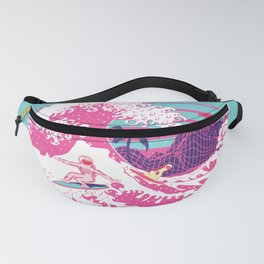 Spaceman surfing The Great pink wave Fanny Pack
