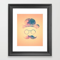 Retro Face with Moustache & Glasses / Universe - Galaxy Hipster Framed Art Print