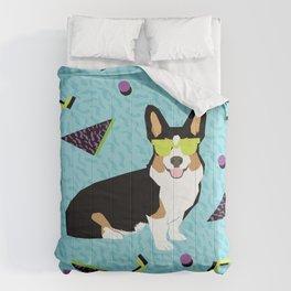 Rad 80s Corgi - 80s, 90s, dog retro, cute bright corgi pattern, corgi design, corgi blanket, corgis Comforters