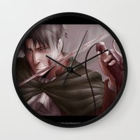 levi Wall Clocks featuring Shingeki no Kyojin - Levi by Paleblood
