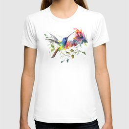 Hummingbird, tropical Foliage, Hawaiian design, tropical, colors T-shirt