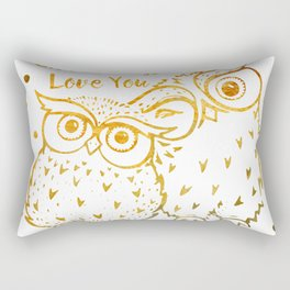 Owl Always Love You - Gold Rectangular Pillow