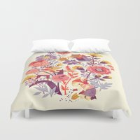 spring Duvet Covers featuring The Garden Crew by Teagan White