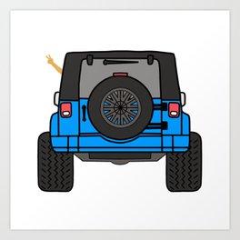 Jeep Wave Back View - Blue Jeep Art Print