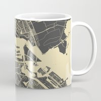 amsterdam Mugs featuring Amsterdam by Map Map Maps
