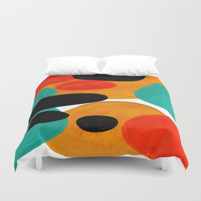 Mid Century Modern Abstract Minimalist Retro Vintage Style Rolie Polie Olie Bubbles Teal Orange Duvet Cover