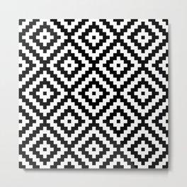 Aztec Block Symbol Ptn BW II Metal Print