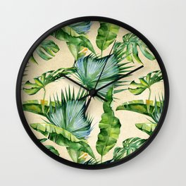 Green Tropics Leaves on Linen Wall Clock