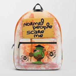 'Normal People Scare Me' Humorous Frankenstein Character Backpack