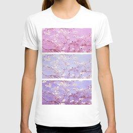 Vincent Van Gogh : Almond Blossoms Lavender Panel Art T-shirt