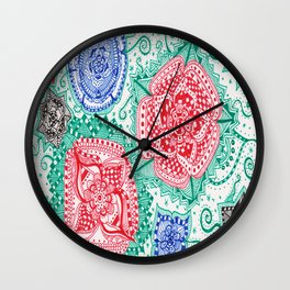 Blue, Black and Red Wall Clock
