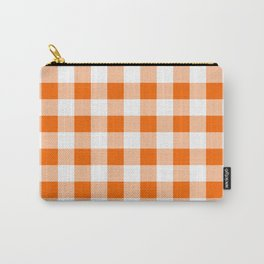 Orange Check Carry-All Pouch