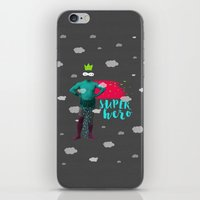 super hero iPhone & iPod Skins featuring SUPER HERO by SNEP
