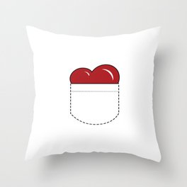 Close to my Heart, Pocket Love - Red Throw Pillow