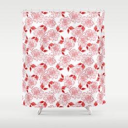 Delicate elegant classy feminine floral pattern.Plants. Red blooming flowers, leaves. Botanical Shower Curtain