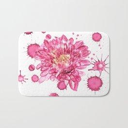 Pink chrysantemum with paint blots Bath Mat