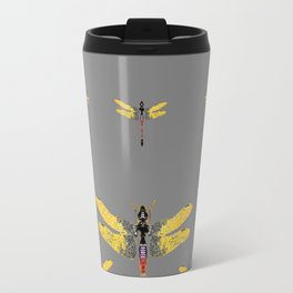 GOLDEN-RED DRAGONFLIES ON GREY Travel Mug