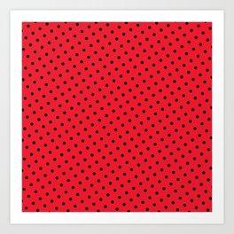 Kissy Flame Kissed Lipstick Retro Red Polka Dot (Black) Art Print