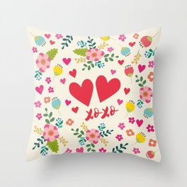 Hugs and Kisses - Flowers and Hearts Throw Pillow