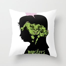 Monsters…hiding in our heads…OPTION Throw Pillow