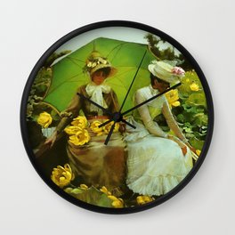 Spectacular 'Lotus Lilies' Portrait by Charles Courtney Curran Wall Clock