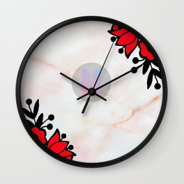 BTS Army Logo Marble Pink Wall Clock