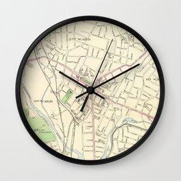 Vintage Map of Waterbury CT (1893) Wall Clock