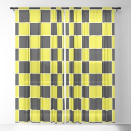 TEAM COLORS 4 YELLOW BLACK WHITE Sheer Curtain