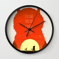 wild things Wall Clocks featuring Wild Things by Duke Dastardly