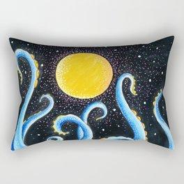 Blue Tentacles Starry Night Moon Rectangular Pillow