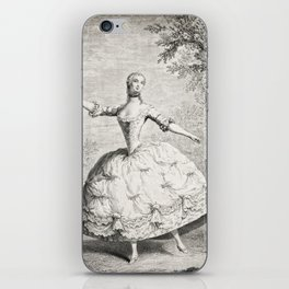 The Dancers, 18th century French ballet woman, black white drawing iPhone Skin