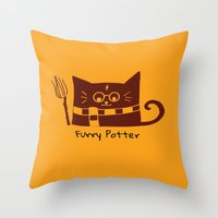 potter Throw Pillows featuring Furry Potter  by MerryLittleDoodle
