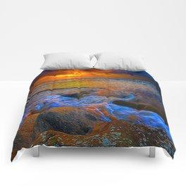 Dusk On The Rocks Comforters