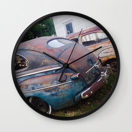 Classic Rusty Ford Cars in Color Wall Clock