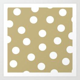 Polka Dots - Ecru and White Art Print