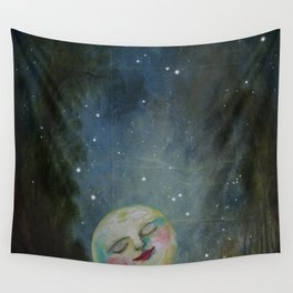 Always Kiss the Moon Goodnight  Wall Tapestry