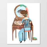jane austen Canvas Prints featuring Jane Austen by Irena Freitas