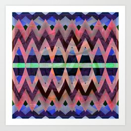 Bold Iridescent Pearlescent Zag Geometric Art Print