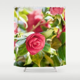 Red Camellia Flowers Pattern Shower Curtain